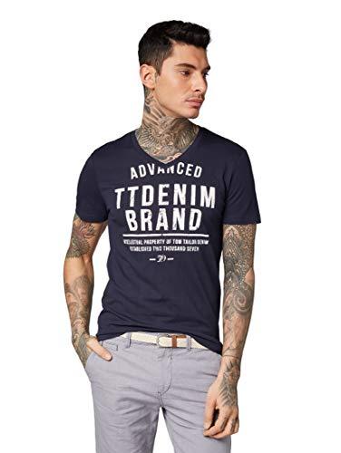 Denim-t-shirt Top (TOM TAILOR Denim T-Shirts/Tops T-Shirt mit Print Night Sky Blue, M)