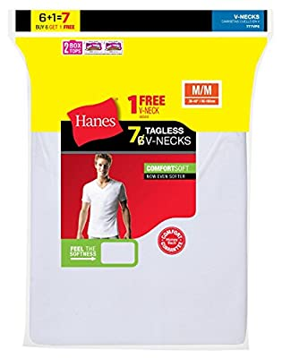 Hanes Men`s White TAGLESS® ComfortSoft® V-Neck Undershirt