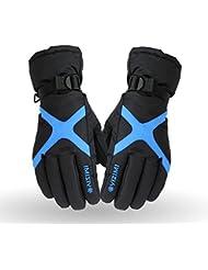Los guantes calientes guantes y cómoda Guantes de invierno engrosamiento Párrafo algodón calor completo se refiere a la Deportes al aire libre Ciclismo Esquí viento ( Color : Azul )