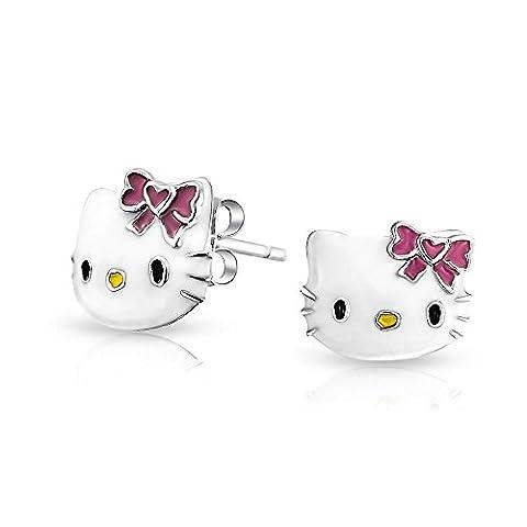 Girls Pink White Enamel Cool Kitty Cat Stud Earring 925 Silver
