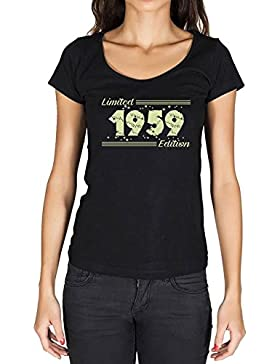 1959 Limited Edition Star Mujer Camiseta Negro Regalo De Cumpleaños