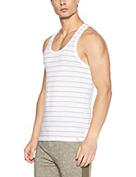 Undercolors Mens Cotton Vest (LM70I_Small_White and Grey)