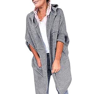 Battnot-Damen Strickjacke mit Kapuze Lange Warm Solide Herbst Winter Elegant Freizeit Strickpullover Mantel, Frauen…