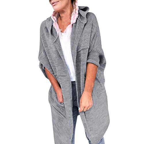 FORH Damen ModeUnregelmäßige Stricken Pullover Sweatshirt Winter warme Lange Rundhals Strickjacke Tunika Mäntel Loose Langarmshirts Pullikleid Top Minikleid (Grau, XXL)