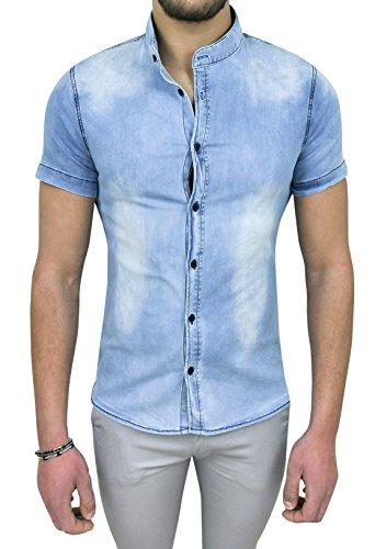 Camicia di jeans uomo denim chiaro slim fit casual a maniche corte (s)