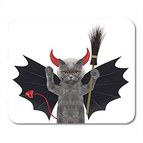 Lustiger Kostüm Teufel - Mauspads Herbst-bunte lustige nette Halloween-Katze im Schläger-Teufel-Kostüm mit Besen-weißer orange Tierhundemausunterlage für Notizbücher, Tischrechnermatten Bürozubehöre