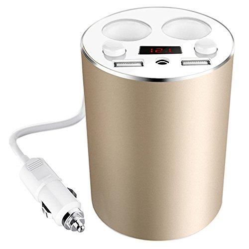 KFZ Ladegerät, HiKeep Auto Ladegerät mit 2 USB Ports 2-socket 4 in 1 Zigarettenanzünder LED-Schirm Tasse-KFZ-Ladegerät für iPhone 4/5/6/6S Plus Samsung Galaxy S5/S6/S7 Smartphones Tablets (Gold)