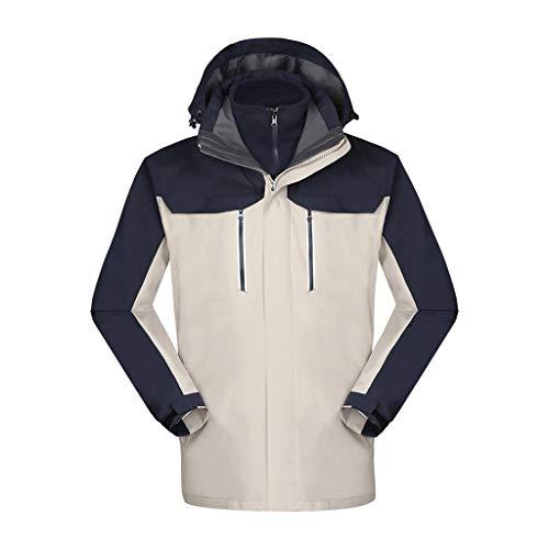 MOTOCO Mens Casual Hoodies Hat Abnehmbare Hoody Liner Abnehmbare Jacken Windbreaker Outdoor Mäntel Reißverschluss(M,Weiß)