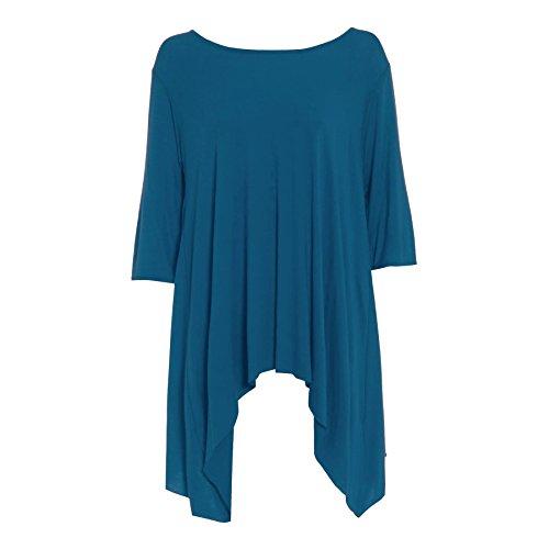 Be Jealous - Damen Top Einfarbig Ausgestellt Wasserfall Assymetrischer Saum Langes Oberteil Kleid Teal - Celeb Celebrity Inspired Short Sleeves