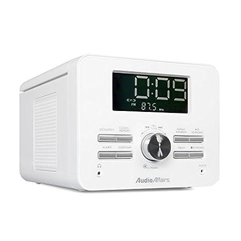 AudioAffairs CD-Uhrenradio PLL UKW-Radio-Wecker mit CD-R / CD-RW Laufwerk, AUX-IN; 2 Weckzeiten mit Snooze- und Sleep-Timer - Nur erhältlich auf