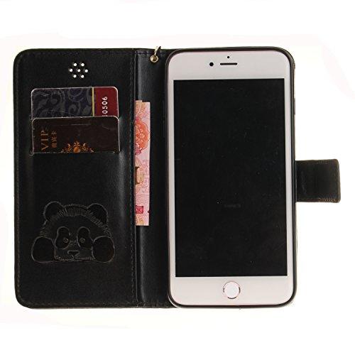PU Cuir Coque Strass Case Etui Coque étui de portefeuille protection Coque Case Cas Cuir Swag Pour gaufrage Panda Apple iPhone 7 Plus (5.5 pouces) +Bouchons de poussière (9CE) 5
