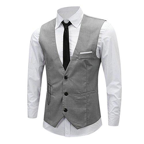 Chouette Homme Vintage Gilet Costume Casual Veste sans Manches Slim Fit Business Mariage Gris 46 FR/Tag XL