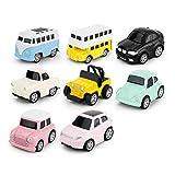 Hule, giocattoli per bambini di 2 anni, mini auto giocattolo per bambini, giocattolo per bambini, mini auto per parcheggi, confezione da 8 1