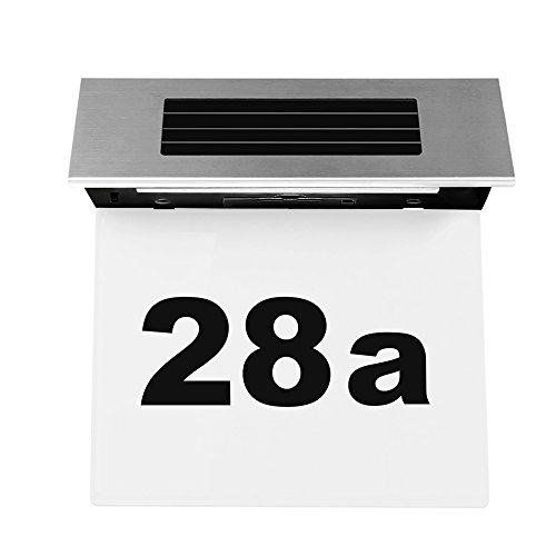 LED Numéro de maison Énergie Solaire ABEDOE Applique Lampe solaire numéro de maison lumineux LED en acier inoxydable - Transparent