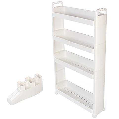 AIHOMETM Plastic Storage Rack Trolley Household Sundries Shelf for Kitchen Bathroom Shelves(4 Layer;White) by AIHOME