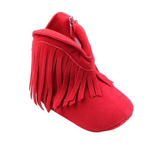 Amlaiworld Kleinkind Kind neugeborenes Baby Mädchen Schuhe weiche Sohle Stiefel Prewalker Quaste (13cm, rot) (Mädchen Schuhe Kinder Geboren)