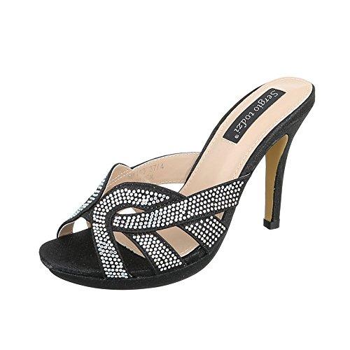 High Heel Sandaletten Damen-Schuhe Plateau Pfennig-/Stilettoabsatz High Heels Ital-Design Sandalen / Sandaletten Schwarz, Gr 38, My143-