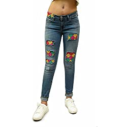 Estrolo COLORFUL LACE PATCH WORK JEANS Ankle Length Skinny Fit Women's Jeans