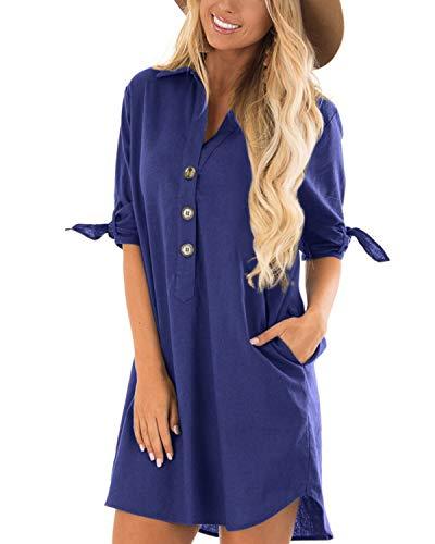 CNFIO Sommerkleid Damen Elegant Kleider V-Ausschnitt 1/2 Ärmel Einfarbig Shirt Design Kurz Blusenkleid Minikleid Strand Kleider Royal Blau EU46