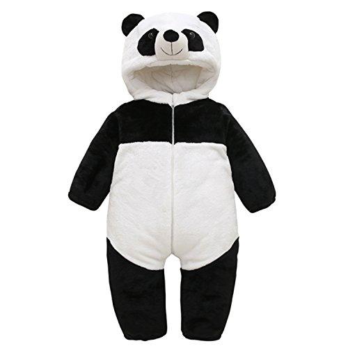 Chic-Chic Barboteuses Bébé Garçon Manteau Capuche Bebe de Panda Mignon Costume de Enfants Garçon Fille Grenouillères Combinaison Panda 0-6mois