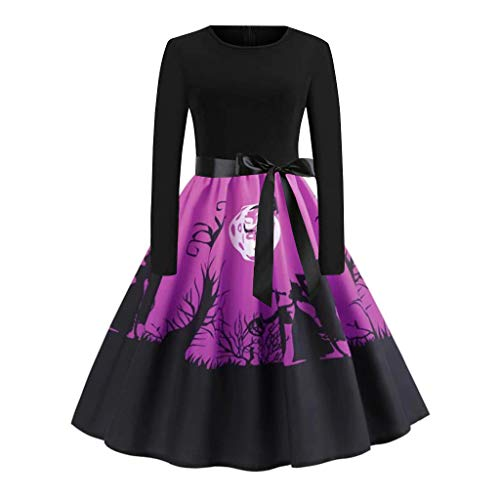 Mymyguoe Frauen Langarm Halloween Kleid Halloween Swing Kleid Long Sleeve Prom Kleid für Damen Swing Kleid Party Halloween Kleid Retro Festliche Kleider Neckholder - Quick Vampir Kostüm