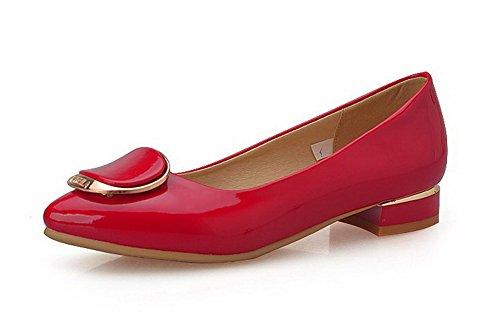 AgooLar Femme Pu Cuir Mosaïque Tire Pointu à Talon Bas Chaussures Légeres Rouge
