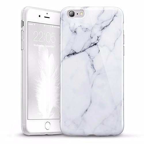 Custodia per iphone 6s/6S Plus,disegno marmorizzato anti-graffio Ultra-Thin Slim Fit Soft TPU Case Cover Custodia per iPhone6 6s Plus 6 6P,Nero Sierra,per iPhone6 i6s White Sierra