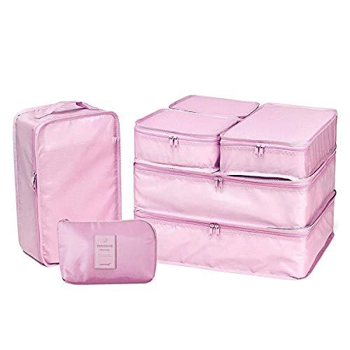 Cubi organizzatori da viaggio - set organizer valigia - imballaggio cubi di lavanderia sacchetto, per vestiti, scarpe, biancheria intima, cosmetici, libri e altro ancora - 7 pezzi (pink)