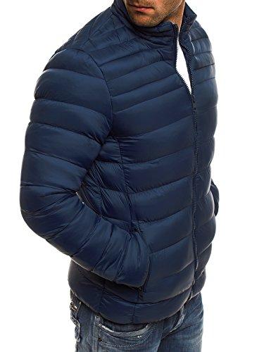 OZONEE Herren Winterjacke Steppjacke Sweatjacke Wärmejacke Jacke Parka Gesteppt J.STYLE 512K Dunkelblau_JS-512K_KU