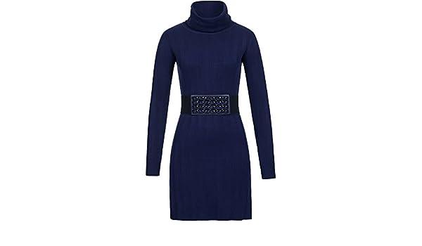 d21297aff77fe5 Stiefel-Kleid mit Stretch-Gürtel  Amazon.de  Bekleidung