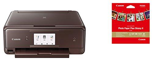 Canon PIXMA TS8053 Farbtintenstrahl-Multifunktionsgerät (Drucken, Scannen, Kopieren, 6 separate Tinten, WLAN, Print App, Duplex, 2.400 x 4.800 dpi) braun – inkl. Canon PP-201 Fotoglanzpapier Plus II 13 x 13 cm 20 Blatt