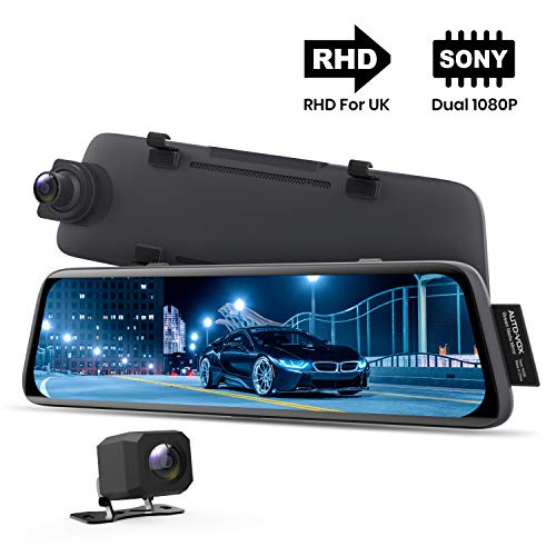 AUTO VOX V5 Mirror Dash Cam 1080P Dual Dash Cam Front and Rear with Night Vision, Sepcial for RHD Cars, 9.35'' Full Touch Screen Rear View Mirror with Reversing Camera, Parking Mode, GPS Tracking