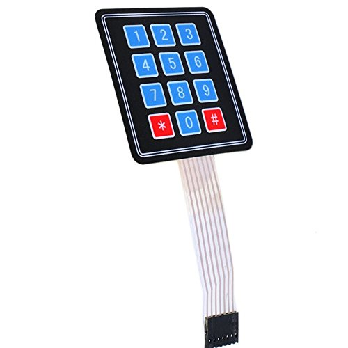 Optimus Electric 2pcs 3x4 Membrane Switch Matrix Keypad Thin and Flexible with Cable Connector and Adhesive Back for Easy Surface Attachment from