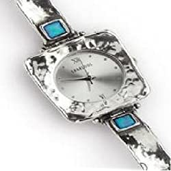 Ladies Handmade Silver Watch With Square Case With Opal Stones