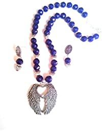 Navy Blue Beads Necklace With German Silver Heart & Wings Pendant