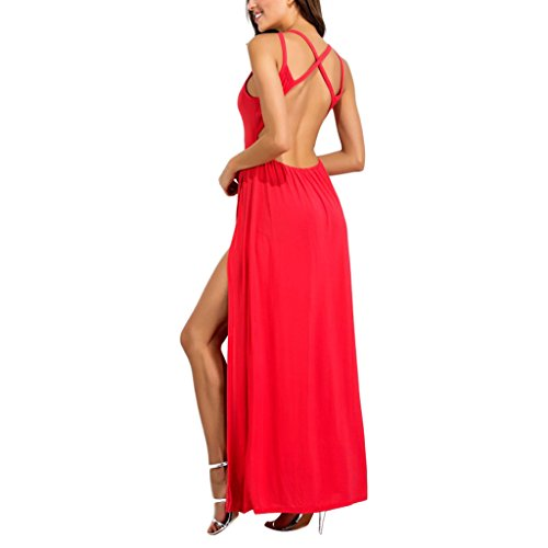 MagiDeal damen Maxi Rückenfrei Partykleider Abendkleider Langes Sommerkleid Rose