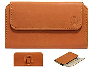 Jo Jo A4 Nillofer Belt Case Mobile Leather Carry Pouch Holder Cover Clip For Spice S3550 Orange
