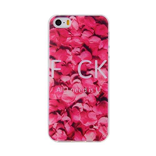 iPhone SE Hülle,Silikon Schutzhülle für iPhone 5 5S,JAWSEU Schön Pink Rose Blume Muster Kristall Klar Anti-Scratch Weich Flexibel Bumper Tpu Gel Handyhülle Ultradünn Durchsichtige Tasche Case Cover Et Rose Blume