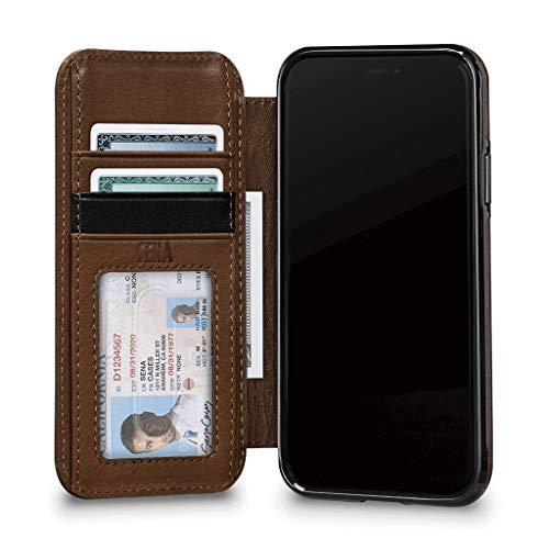 Sena Deen Schutzhülle für iPhone XR, Leder, Schwarz, iPhone XS, Saddle Walletbook Case