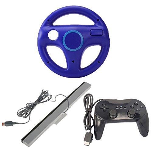 MagiDeal Volante + Barra de Sensores + Controlador de Videojuegos Reemplazo para Nintendo Wii Mario Kart