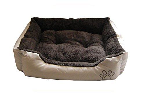 Suave Cama para perro - MARRÓN OSCURO INTERIOR Beis exterior - Grande - ntd9747yr