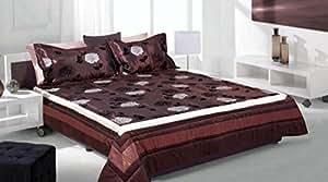 170x210 cappucino mocca hellbraun braun schoko schokolade Tagesdecke Bettüberwurf Blumenmotiv + 50x70 Kissenbezug brown choco chocolate Flok