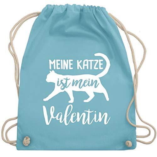 Valentinstag - Meine Katze ist mein Valentin - Unisize - Hellblau - WM110 - Turnbeutel & Gym (Katze Kostüm Outfit Ideen)