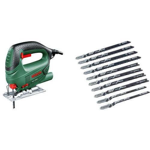 Bosch PST 650 - Sierra de calar con maletín (500 W, 240 V) color verde + 2607010629 Pro Line - Juego de hojas de sierra de calar (10 unidades, para madera)