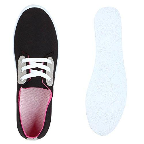 Damen Sneakers Low Freizeit Schuhe Basic Turnschuhe Schwarz