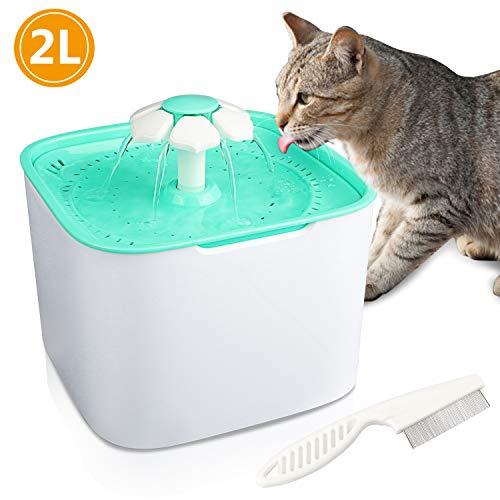 Gifort Haustier Trinkbrunnen 2L Wasserspender für Katze Tiere und Hunde Wasser Trinken Sauberer und Sicherer Filter BPA sichere Materialien (Katzen Frisch-wasser-brunnen Für)