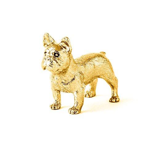Bulldog francés Hecho en Reino Unido Artístico Perro Figura Colección (bañoda en oro de 22 quilates)