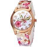 banda de silicona de colores patrón de flor de la moda reloj de las mujeres