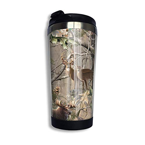 Real Thermal (Stainless Steel Coffee Mugs Camo Real Tree Deer Bear Travel Coffee Thermal Mug 10 Oz (400ml) Insulated Cup Perfect for Travel, Camping, Hiking, The Beach and Sports)