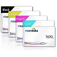Product Name: 4 Moreinks Compatible Ink Cartridges to replace Epson T1636 / 16XL / Cyan / Magenta / Yellow / Black / for use with Epson WorkForce WF-2530WF WF-2510WF WF-2540WF WF-2520NF WF-2010W WF-2630WF WF-2650DWF WF-2660DWF WF-2750DWF Printers